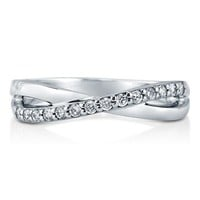 Cubic Zirconia CZ 925 Sterling Silver Criss Cross Fashion Ring Band #r633-b