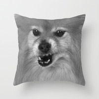 Angry Pomeranian dog Throw Pillow by Bruce Stanfield