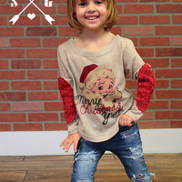 Kids Merry Christmas Ya'll Vintage Santa on Tan Sweater with Red Lace Elbow Patch
