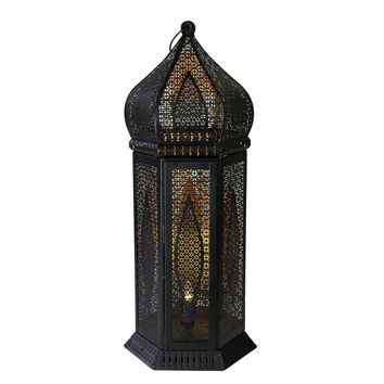 "21.25"" Black and Gold Moroccan Style Cut-Out Table Lantern Lamp"