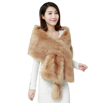 Long Shawl Thick Faux Fur Scarf