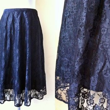 black floral lace A line skirt (26 inches), small midi skirt