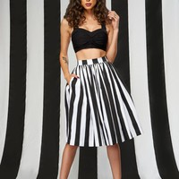 Pinup Couture Jenny Skirt in Mark Stripe