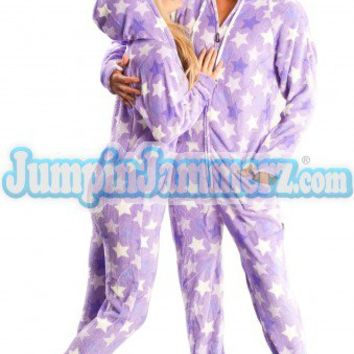 Purple Haze - Hooded Footed Pajamas - Pajamas Footie PJs Onesuits One Piece Adult Pajamas - JumpinJammerz.com