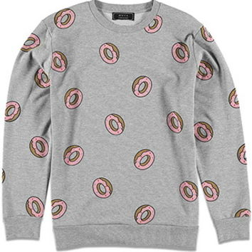 Heathered Donut Print Sweatshirt