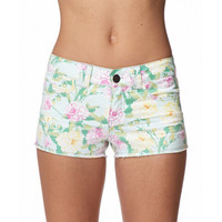 FOREVER 21 Garden Rose Print Shorts Mint/Pink Small