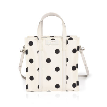 BALENCIAGA WHITE AND BLACK POLKA DOT BAG
