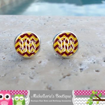 Burgundy & Gold Chevron  Monogram Earrings,Monogram Jewelry,Monogram Accessories,Monogram Studs,Monogram Leverbacks,Monogram Gifts under 10