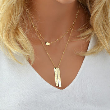 Personalized Layered Necklace, Vertical Bar Necklace Layering, Dainty Heart Necklace Gold, Coordinates Necklace, Roman Numeral Necklace
