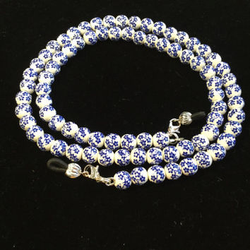 White and Blue Flowers Eyeglass Chain