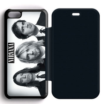 Nirvana Band Leather Wallet Flip Case iPhone 5C