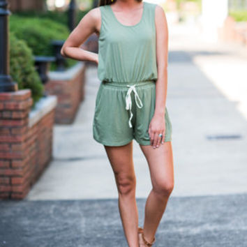 Back At The Beach Romper, Light Olive