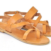 Leather Sandals / Greek Handmade / Classic cross straps women sandal / NEW slim rubber soles