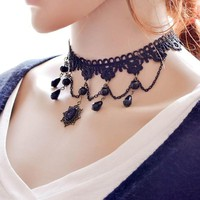 Choker Necklace Outfits Gothic Vintage Tattoo Tassel Lace  Collar