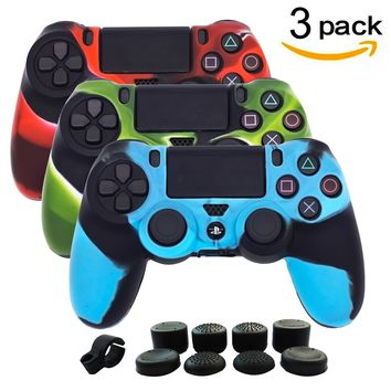 BRH 3 Package Silicone Gel PS4 Controller Cover Skins, Anti-slip Camouflage Protector Skin Kits for Sony Dualshock 4/Slim/Pro Wireless/Wired Gamepad with 8 x Pro Thumb Grip Caps