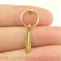 gold feather earring,little feather Tragus Earring,Turquoise Cartilage Hoop,Feather Earring,fantastic ear Helix Cartilage jewelry,oceantime