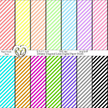 Rainbow Digital Backgrounds Colorful Diagonal Lines Digital Scrapbook Paper Goods - pink yellow white black gray blue green purple orange