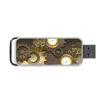 Steampunk, Golden Design With Clocks And Gears Portable USB Flash (Two Sides)