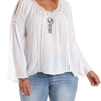 Plus Size White Crochet-Trim Bell Sleeve Top by Charlotte Russe