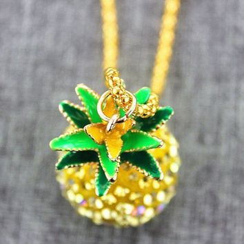 PEAPDQ7 The New Cute Pineapple Pendant Long Necklace + Nice Gift Box
