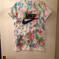 unisex customised acid wash tie dye nike t shirt sz medium festival fashion ibiza