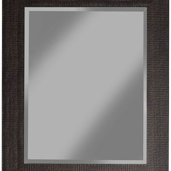 Rustic MDF Framed Wall Mirror With Sharp Edges, Espresso Brown