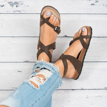 Lace Up Footbed Sandals - Brown