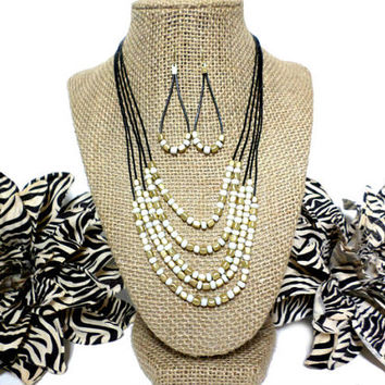 Gold & White Beaded Black Cord Multi Row Layer Necklace and Earring Set, gift