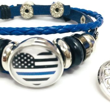 Thin Blue Line Officer Heart USA Flag Snap Blue Leather Bracelet  With Bonus Extra 18MM - 20MM Charm New Item