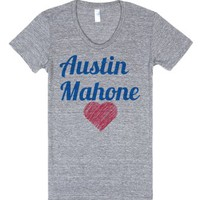Austin Mahone with heart-Female Athletic Grey T-Shirt