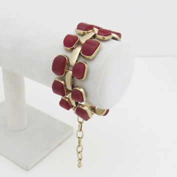 Vintage gold tone link bracelet with ruby stones - Gift for Mom birthday gift - Gift for her - Gift for wife - Mother's Day gift