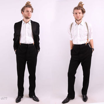 1950s Black Tie Suit / Tuxedo Wedding Suit / S to M