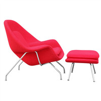 Eero Saarinen Style Womb Chair and Ottoman | Red