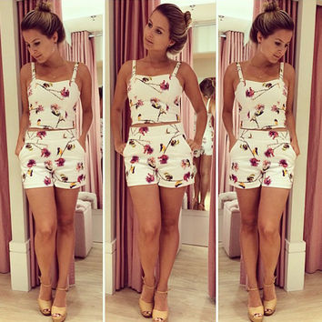 Strap Crop Top High Waist Flower Print Shorts Beach Two Pieces Set