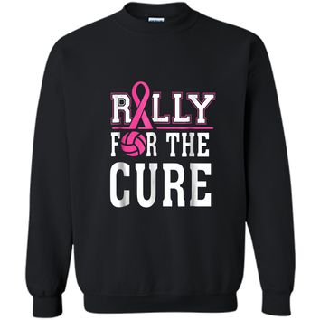 Volleyball Team Breast Cancer Awareness  Printed Crewneck Pullover Sweatshirt