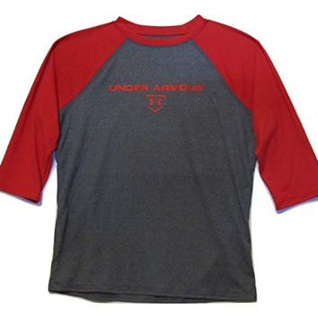 Under Armour Big Boys' UA Baseball ¾ Sleeve Shirt Youth Large Red