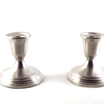 Pewter Candle Holders, Vintage Silver Candlesticks