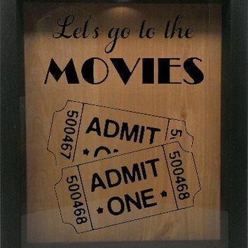 "Wooden Shadow Box Wine Cork/Bottle Cap Holder 9""x11"" - Let's Go To The Movies with Tickets"