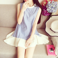 Art Institute Vertical Stripe Flounced Cotton Dress