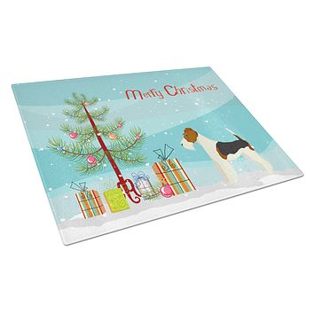 Fox Terrier Christmas Tree Glass Cutting Board Large CK3538LCB