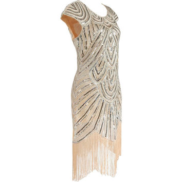 Women 1920s Vintage Great Gatsby Art Deco Sequin Embellished Fringed Hem Cocktail Flapper Dress Sequined Tassel Party Costume