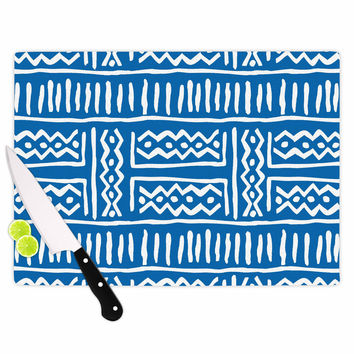 "Dan Sekanwagi ""Lines And Zigzags"" Blue Tribal Cutting Board"