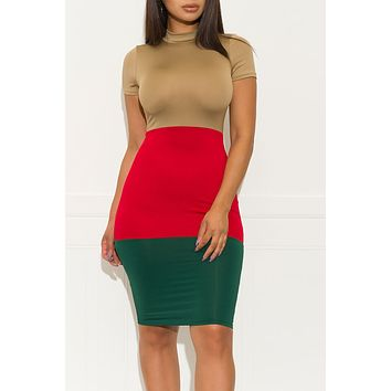 Ready To Go Out Dress Taupe Red Green