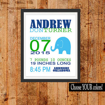 BOY ELEPHANT Birth Announcement Boy Nursery Decor, Modern Wall Art, CANVAS or Prints Baby Shower Gift