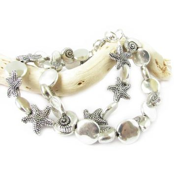 Silver Starfish or Seashell Beach Bracelets