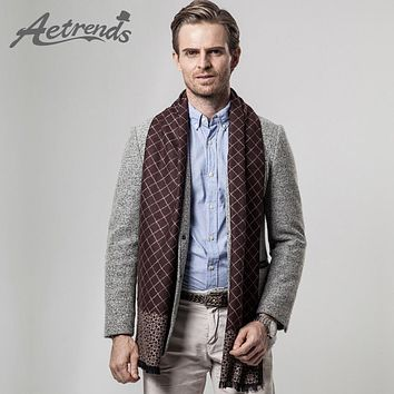 [AETRENDS] 2016 New Arrival Winter Scarfs Men's Business Plaid Scarf Cashmere Scarves Z-3455