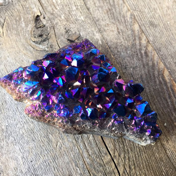Blue Titanium Quartz Crystal Cluster Titanium Crystal Raw Crystal Healing Crystals and Stones Spiritual Healing Crystal Gift Bohemian Decor