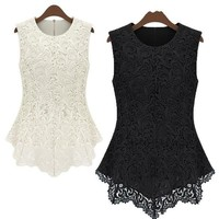 New Women's Sleeveless Crew Collar Lace Peplum Blouse Top Vest Shirts