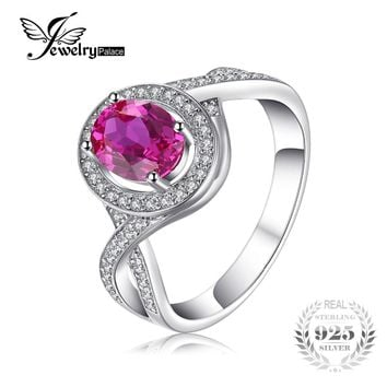 JewelryPalace Classic 1.8ct Oval Created Pink Sapphire Halo Promise Ring 925 Sterling Silver Jewelry New Fashion Rings For Women