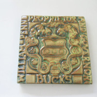 Moravian Pottery Tile William Penn Bucks County. Henry Mercer Reproduction. Arts and Crafts Wall Hanging Kitchen Tile  - FL